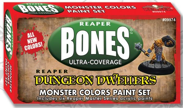 Reaper MSP Bones: Ultra-Coverage Dungeon Dwellers Monster Colors Paint Set