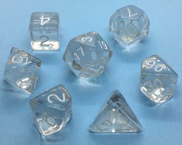 Role 4 Initiative Polyhedral 15 Dice Set: Translucent Clear