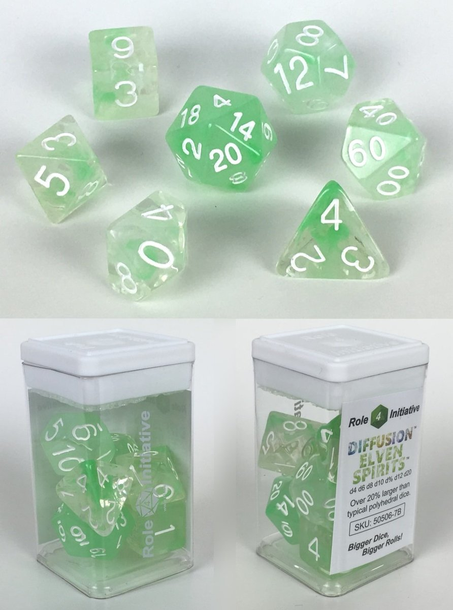 Role 4 Initiative Polyhedral 7 Dice Set: Diffusion Elven Spirits