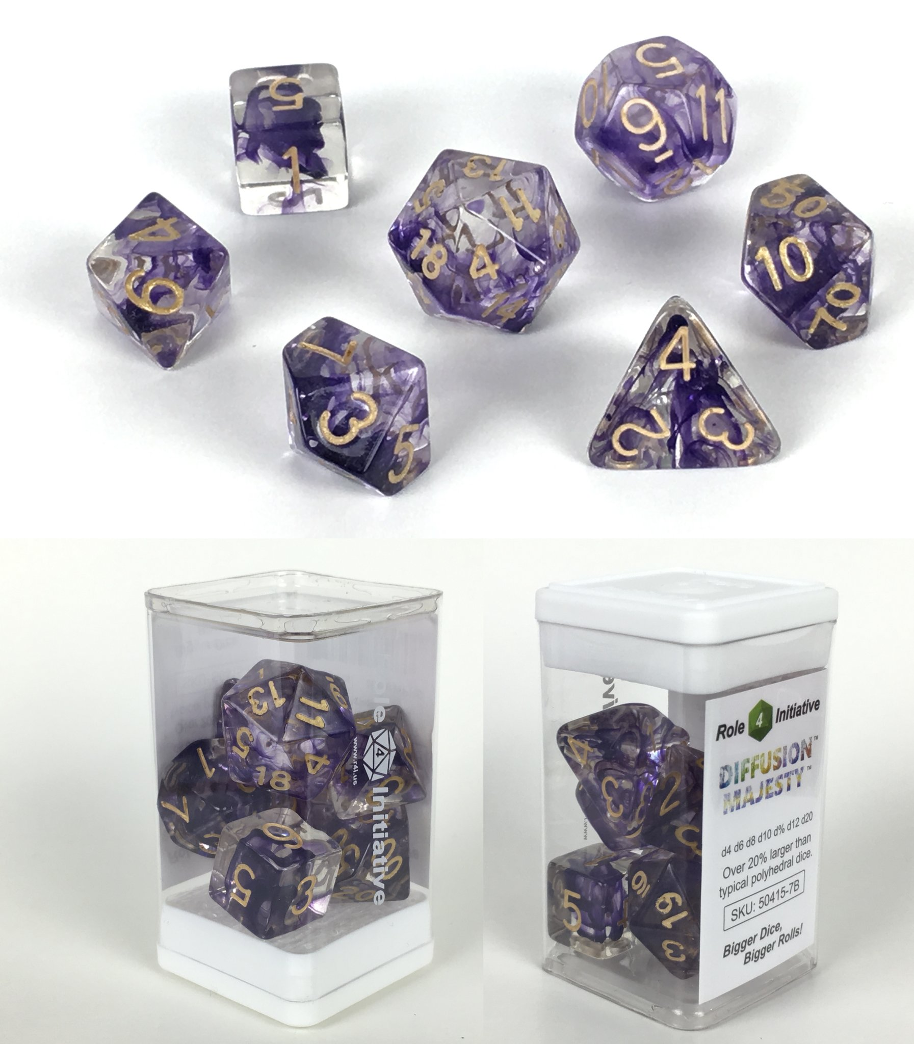 Role 4 Initiative Polyhedral 7 Dice Set: Diffusion Majesty