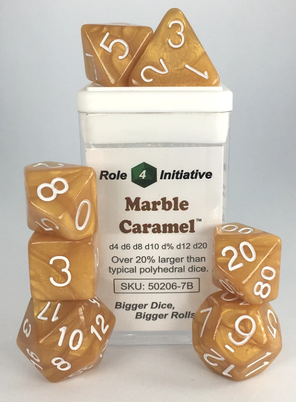 Role 4 Initiative Polyhedral 7 Dice Set: Marble Caramel