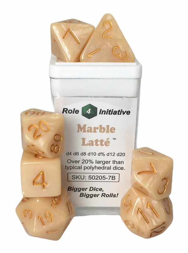 Role 4 Initiative Polyhedral 7 Dice Set: Marble Latte