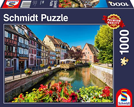 Schmidt Spiele Puzzles (1000): Little Village with Halftimbered Houses