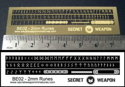 Secret Weapon Miniatures: Photo Etched Brass: 2mm Runes