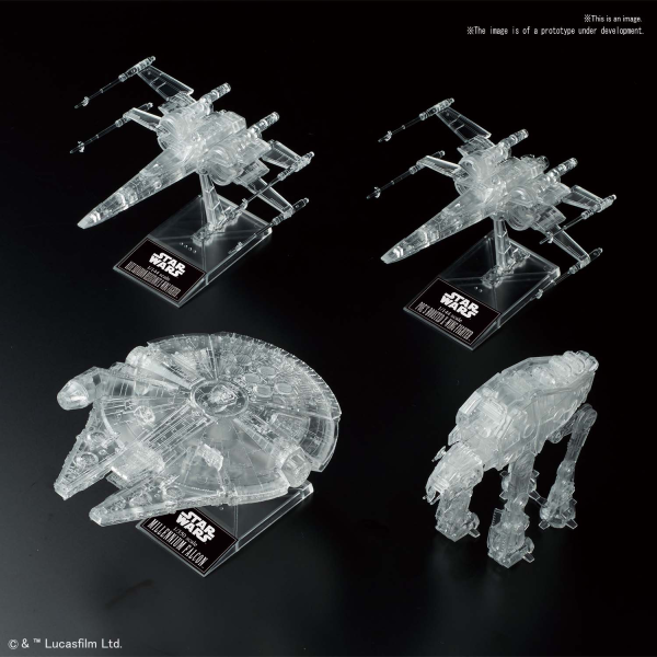 Star Wars Bandai Model Kit: [STAR WARS: THE LAST JEDI] 1/144 & 1/350 & 1/540 CLEAR VEHICLE SET