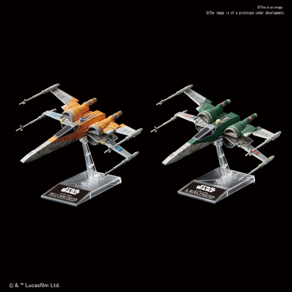Star Wars Bandai Vehicle Model Kit: Poes X-Wing Fighter & X-Wing Fighter (Rise of Skywalker)
