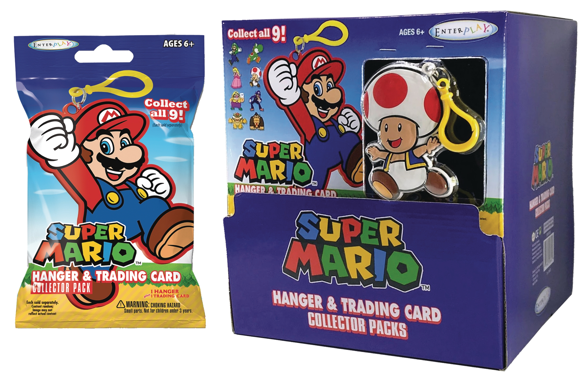Super Mario Hangers with Trading Cards