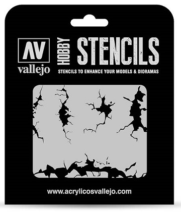 Vallejo Hobby Stencils: CRACKED WALL