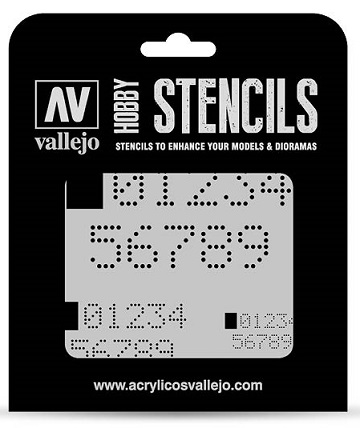 Vallejo Hobby Stencils: DIGITAL NUMBERS