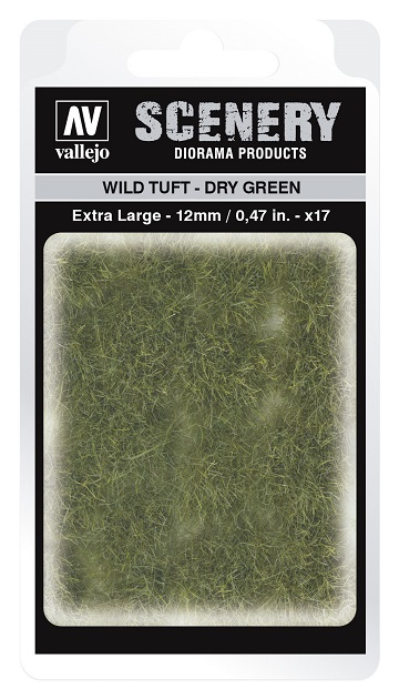 Vallejo Scenery Diorama Products: WILD TUFT- DRY GREEN (Extra Large 12mm)