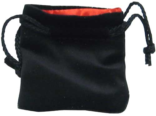 "Velvet Dice Bag (3x5""): Black/Red"