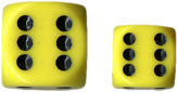 Chessex (25602): D6: 16mm: Opaque: Yellow/Black