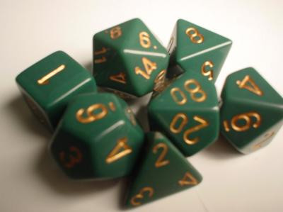 Chessex (25415): Polyhedral 7-Die Set: Opaque: Dusty Green/Copper