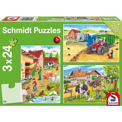 Schmidt Spiele Puzzle: On the Farm (3x24)